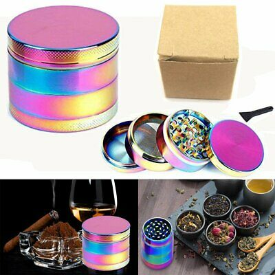 Large Stainless Spice Tobacco Herb Weed Grinder-4 Layers 40 x 35mm Rainbow