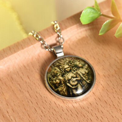 HUGE CRESCENT MOON/_Bronze Pendant on Chain Necklace/_Night Full Goddess Wiccan