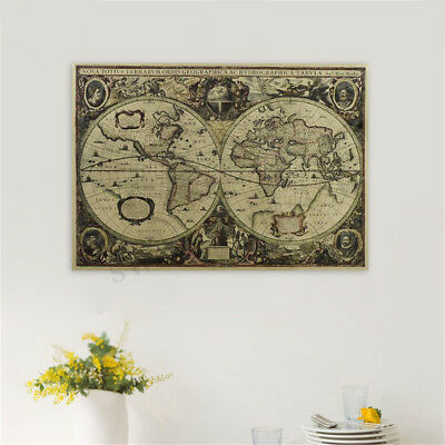 1x Retro Old World Map Kraft Paper Poster Home Room Vintage Cafe Bar Wall Decor