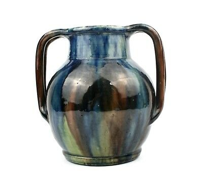 Early 20th C. West Country Pottery Vase Streaky Glaze Twin Handled