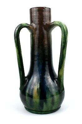 Early 20th C. West Country Pottery Vase Streaky Glaze Three Handled Brown Green