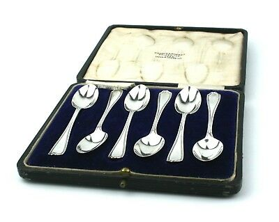Antique Sterling Silver Tea Coffee Spoons Set of 6 Cased London 1913