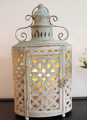Large Antique French Vintage Style Metal Lantern Candle Holder Shabby Chic