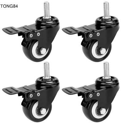 "4 Heavy Duty Caster Set 2"" Wheels All Swivel All Brake Casters Non Skid No Mark."