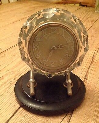 Large Vintage Russian Clockwork Art Deco Bakelite Glass Crystal Desk Clock