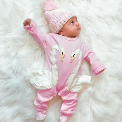 Fashion Newborn Baby Girls Cotton 3D Swan Romper Pants Jumpsuit Outfits Clothes