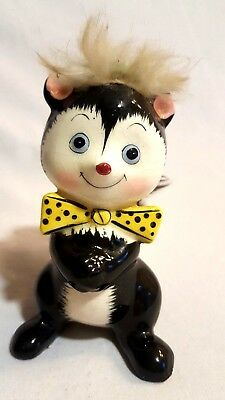 "VTG Ucagco Skunk Porcelain Figurine W/ Orig Label 4.5"" Yellow Bow Tie Green Hat"