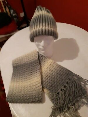 Grey Colour Loom Knitted Hat And Scarf Set