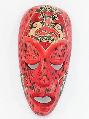 """Tribal Mask w/ Kangaroo 8"""" Wooden Hand Carved & Painted Bali Indonesia Wood Red"""