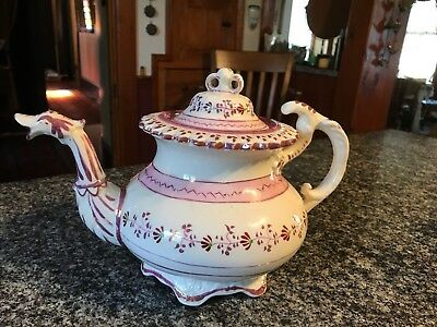 Exquisite Antique Pink Lustre, Mulberryware Teapot, All The Bells And Whistles!
