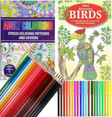 2 X  A4 Adult Colouring Books Therapy 72 Patterns +18 Pencils + 18 Felt tip Pens