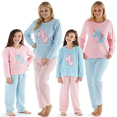 New Matching Mother & Daughter Christmas Unicorn Fleece Pyjamas Family Gift Set