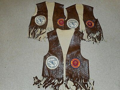 Three Vintage (1973) Indian Guide Vests With Patches, Father, 2 Sons