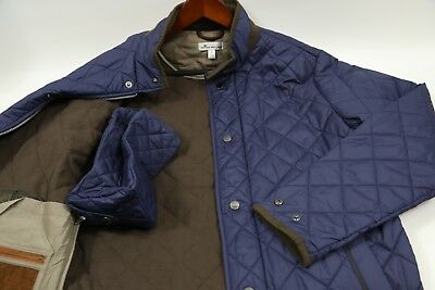 #192 PETER MILLAR 'Suffolk' Navy Quilted car Coat Size Small  RETAIL $195