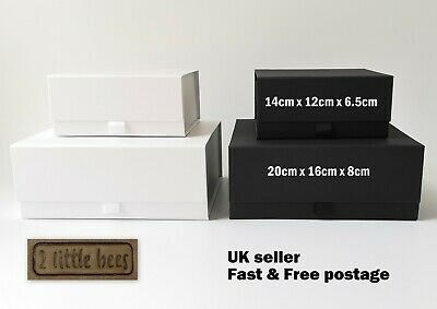 Luxury Magnetic GIFT BOX MEDIUM White Black Wedding Bridesmaid Gift ideas UK