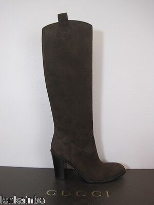 62957cd4519 GUCCI BROWN LEATHER Suede Heel Tall Zipper BOOTS size 39.5 -  400.00 ...