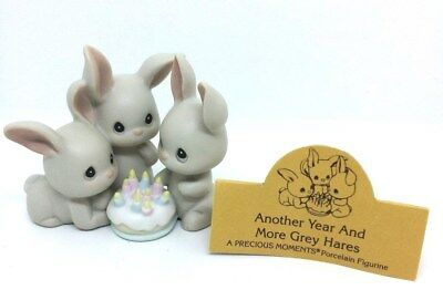"""SUPER GIFT:  PRECIOUS MOMENTS FIGURINE """"Another Year & More Grey Hares"""" w/box!"""