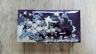 Mother of Pearl Jewelry Box Jewelry Storage Wooden Box For Gift Birds Purple