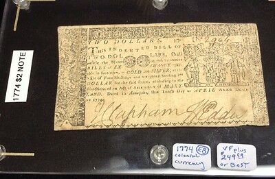 1774 Annapolis, Maryland Colonial $2 Note dated April 10, 1774