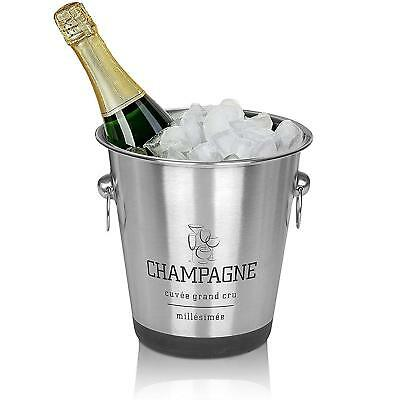 Silver Stainless Steel Champagne Ice Bucket Drinks Cooler Beer Wine Beverages