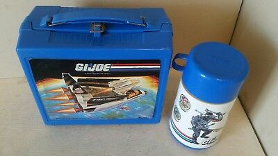 Vintage GI Joe Lunch Box Thermos Aladdin Plastic Rare Blue Defiance Shuttle