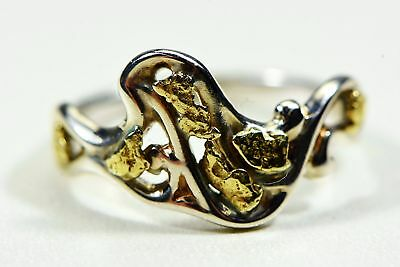 "Gold Nugget Ladies Ring ""Orocal"" RL179SS Genuine Hand Crafted Jewelry-14K"