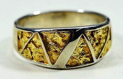"Gold Nugget Men's Ring ""Orocal"" RM883NSS Genuine Hand Crafted Jewelry-14K"