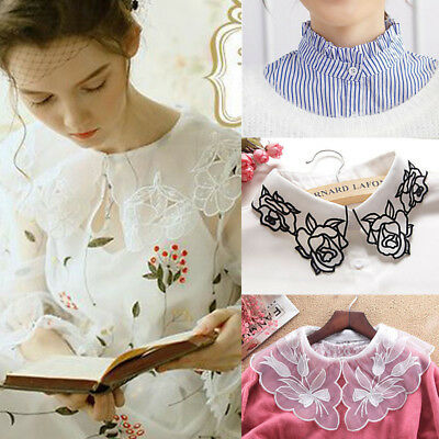 Women Stripe Lace Button Blouse False Collar Clothes Shirt Detachable Collars