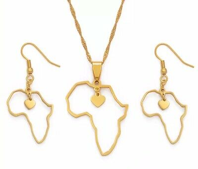 Africa Map with tiny heart pendant necklace matching earrings set gold plated