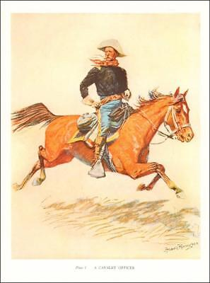 CAVALRY OFFICE GALLOPING ON HORSE BY Frederic Remington, vintage print 1947