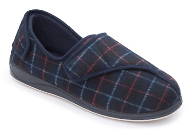 Padders Phillip Mens Slippers Adjustable Velcro Comfy Plaid Design Wide Fit