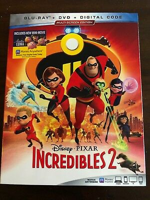 The Incredibles 2 (Blu-ray + DVD, 2018)- includes mini movie