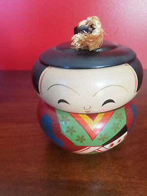 """Vintage Japanese Wood Doll Hand Painted Stacking Bowls 5"""""""