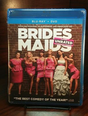Bridesmaids (Blu-ray/DVD,2011,2-Disc Set,Unrated/Rated)NEW-Free S&H w/Tracking