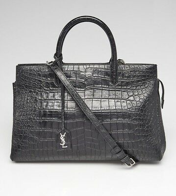 5b8c0830e67d YSL Yves Saint Laurent Cabas Rive Gauche Bag Croc Embossed Leather Save 50%+
