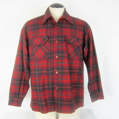 Pendleton Large L Plaid Board Shirt 100% Wool Long Sleeve Red Green Blue