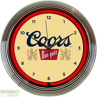 "COORS BANQUET Beer Brew 15"" Neon Wall Clock Glass Face Chrome Plate Warranty New"