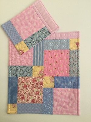 Doll's Quilt & Pillow set Pink + Blue Pram Cot Handmade Blanket Quilted Girl