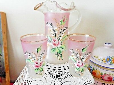 Gorgeous Antique Victorian hand enamelled glass jug and 2 tumblers