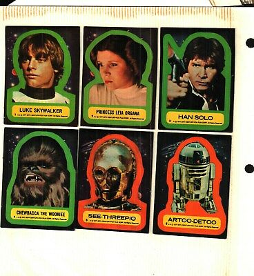 babe6b3e196 1977 Topps Star Wars Trading Cards Series 1 Complete Set of 11 Stickers  Good VG