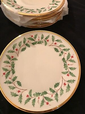 "Lenox Holiday Set Of 8 Salad/Dessert Plates 8.25 "" NEW w Tag Ivory Bone China"