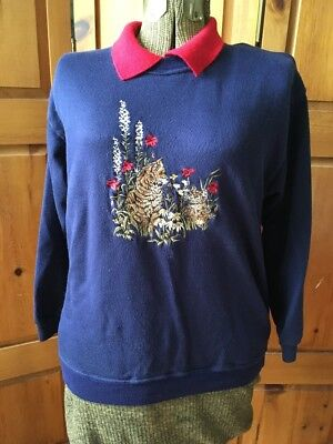Vintage Amundsen Pullover Navy Blue Embroidered Cat Kitty Sweater Red Collar