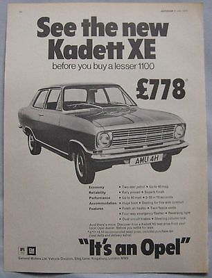 1970 Opel Kadett XE Original advert