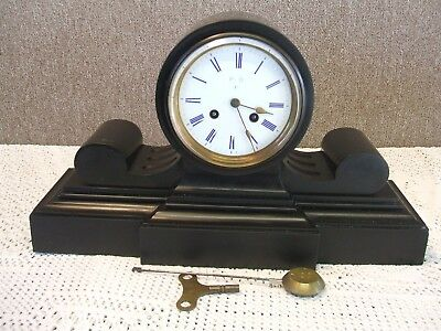 French / L Marti / Black Marble / Large Mantle Clock