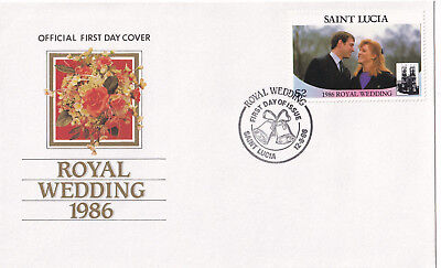 (21356) St Lucia FDC Prince Andrew Fergie Royal Wedding 12 August 1986