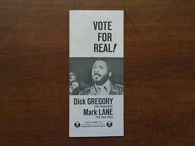 Vintage Dick Gregory For President Brochure NYC Freedom & Peace Party 1968