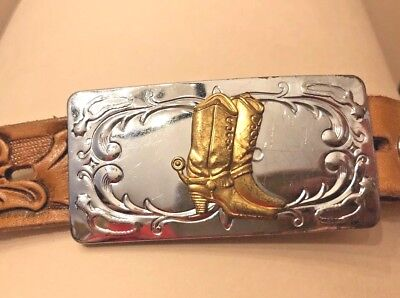 Vintage tooled leather 1970's WESTERN belt w/ Chambers Cowboy Boots buckle youth
