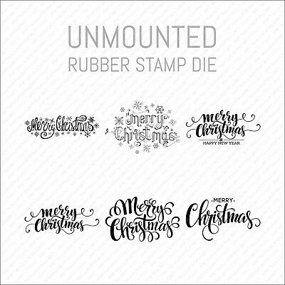 Merry Christmas Large Unmounted Rubber Stamp Die - Card Making - Scrapbooking