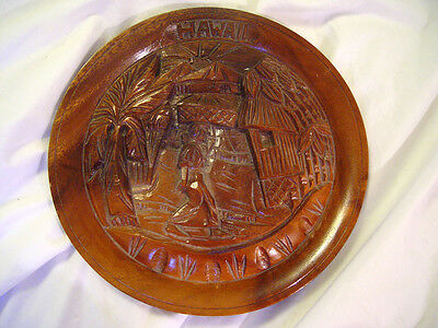 """Vintage Wood Plate Hawaii Souvenir Hand Carved 10""""  Woman Carrying Basket"""
