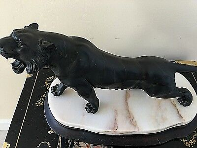 Antique Japanese Signed Bronze Tiger(Tigress) Statue w/Marble & Wood Base